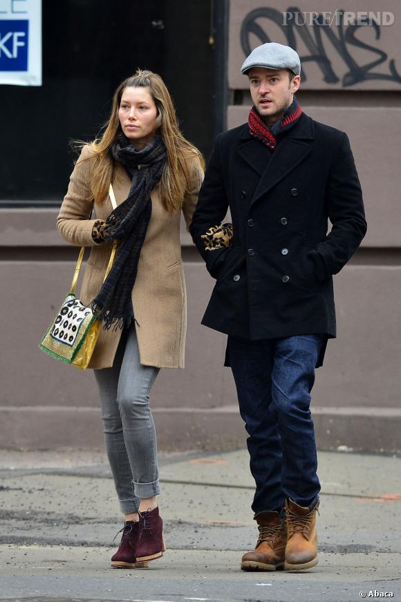 Jessica Biel et Justin Timberlake, bras dessus bras dessous mais pas vraiment sur la même longueur d'onde. Jessica est moins emballée que Justin à l'idée d'avoir des enfants.