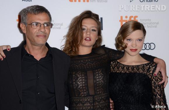 """Abdellatif Kechiche, Adèle Exarchopoulos et Léa Seydoux, le trio de """"La Vie d'Adèle""""."""