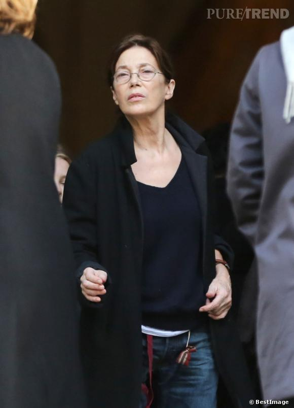 Jane Birkin, aux obsèques de sa fille, Kate Berry, à l'Eglise Saint-Roch.