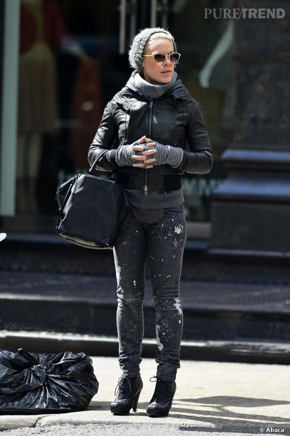 Camaïeu de noir et gris pour la chanteuse Pink.