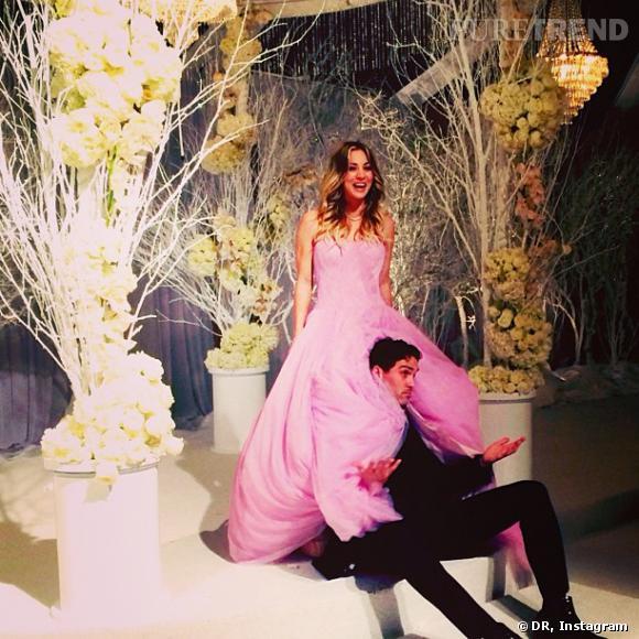 Kaley Cuoco a misé sur une création Vera Wang rose bonbon pour son mariage avec Kaley Cuoco.
