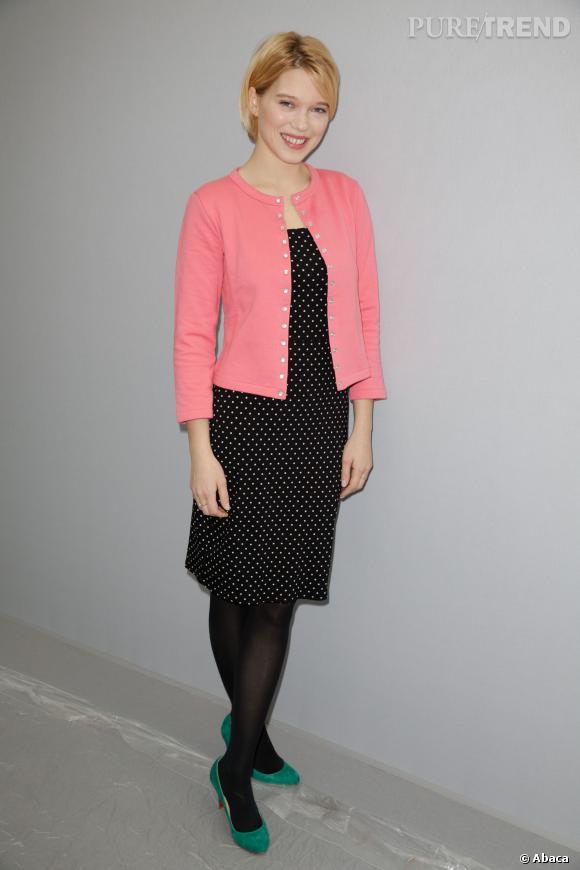 Petite coupe garçon et vêtements casual pour Léa Seydoux.