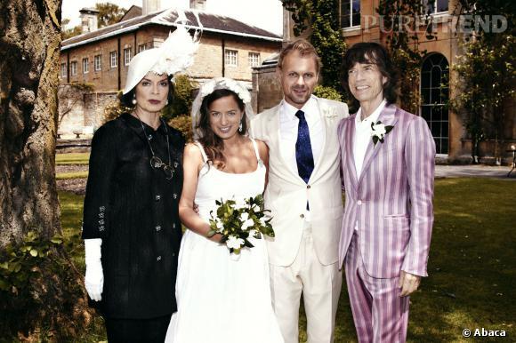Jade Jagger à son mariage avec son père Mick et sa compagne L'Wren Scott.
