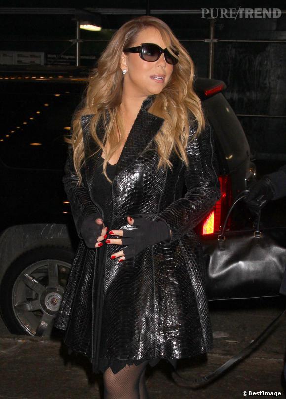 Mariah Carey joue les divas chez MTV à New York jeudi 13 février 2014.