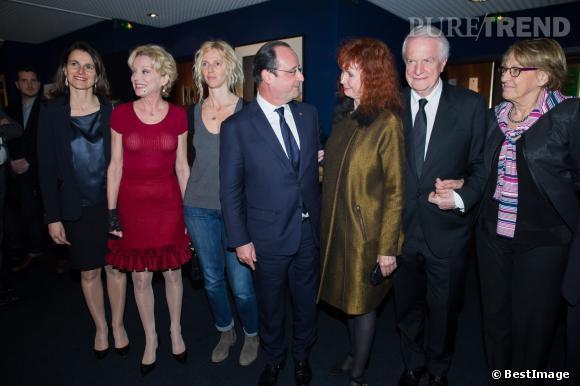 L'équipe du film d'Alain Resnais accompagnée d'Aurélie Filippetti et du Président de la République 10 mars 2014 à Paris.