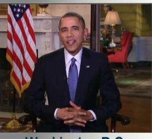 Barack Obama, pas très content qu'Elle DeGeneres lui grille son record de retweet.