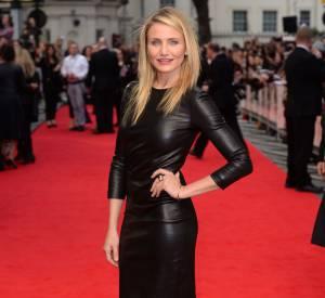 """Cameron Diaz à Londres au début du mois d'avril 2014 pour son dernier film """"Triple Alliance"""" avec Kate Upton et Leslie Mann."""