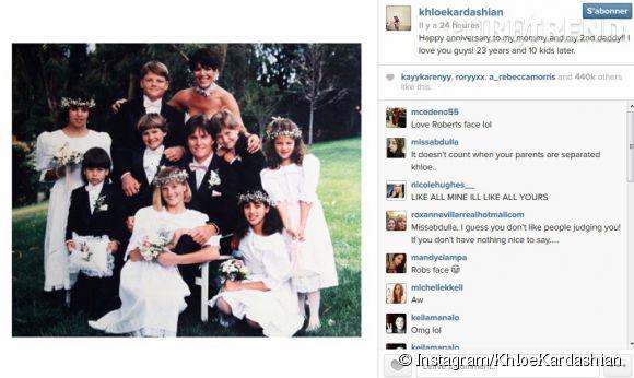 """Khloe Kardashian félicite aussi sa mère et son """" 2ème papa """" pour leur anniversaire de mariage."""