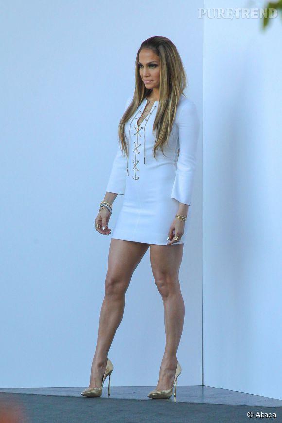Jennifer Lopez sur le plateau d'American Idol à Los Angeles le 1er mai 2014.