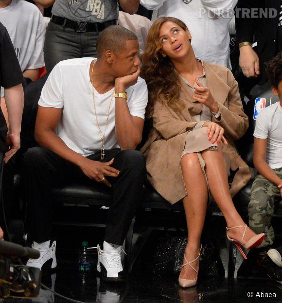 Beyoncé et Jay Z lors d'un match de basket le 11 mai 2014.
