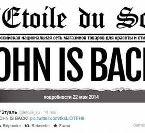 Selon le Twitter de l'Etoile, John Galliano est de retour !