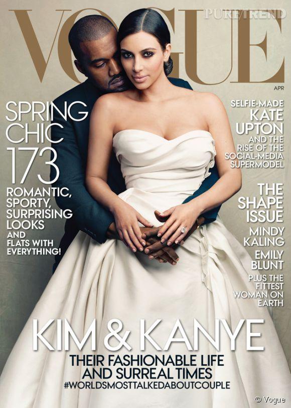 Kanye West et Kim Kardashian en couv de Vogue en avril 2014.