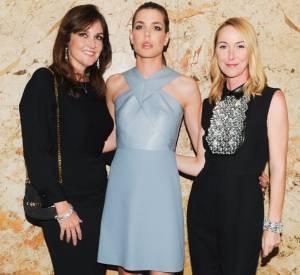 Joanne Crewes, Charlotte Casiraghi et Frida Giannini lors de la soirée de lancement des cosmétiques Gucci à l'Hôtel Carlyle le 4 mai 2014 à Paris.
