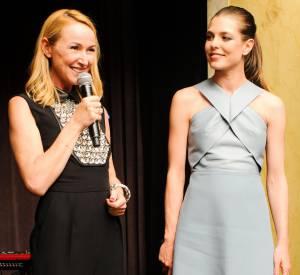 Frida Giannini et Charlotte Casiraghi lors de la soirée de lancement des cosmétiques Gucci à l'Hôtel Carlyle le 4 mai 2014 à Paris.
