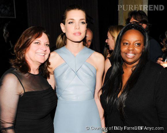 Deb Henretta, Charlotte Casiraghi et Pat McGrath lors de la soirée de lancement des cosmétiques Gucci à l'Hôtel Carlyle le 4 mai 2014 à Paris.