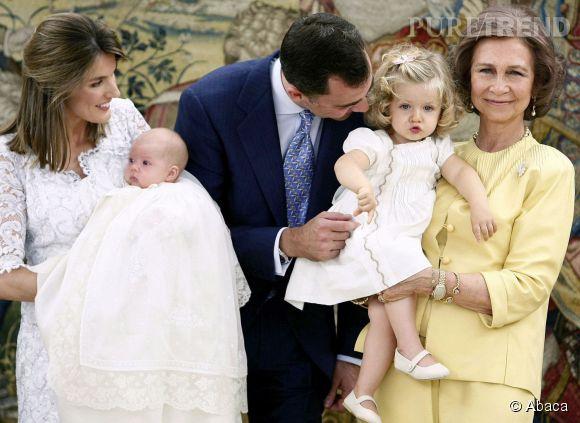 Sofia et Leonor d'Espagne, lors du baptême de la petite Sofia en juillet 2007.
