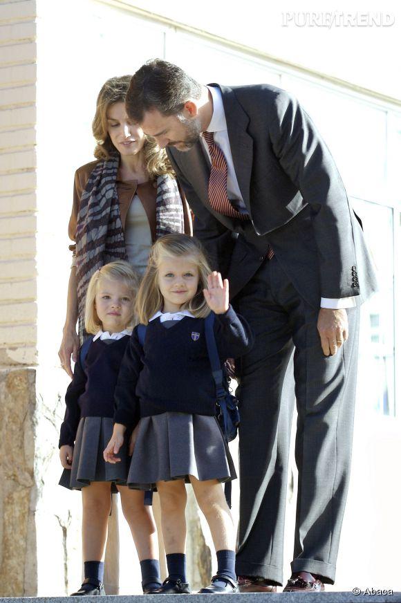Rentrée des classes pour les princesses d'Espagne en septembre 2010.