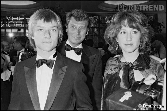 Nathalie Baye, Johnny et David Hallyday en 1983.