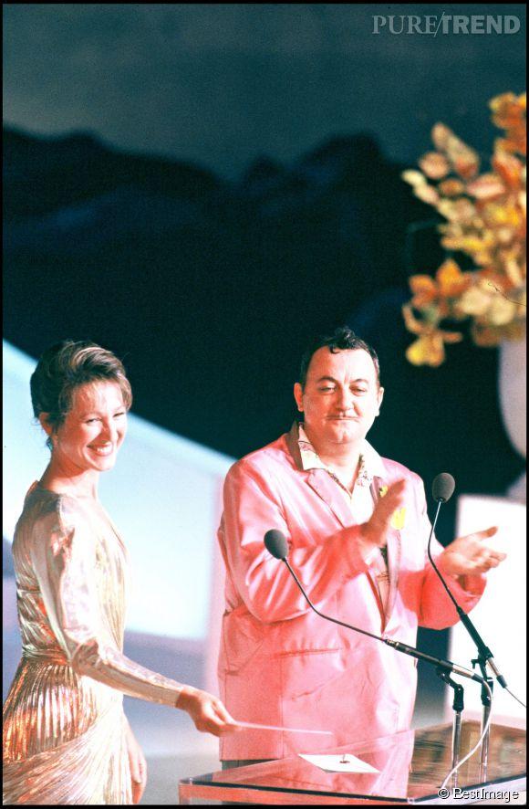 Nathalie Baye et Coluche lors de la cérémonie des César en 1985.