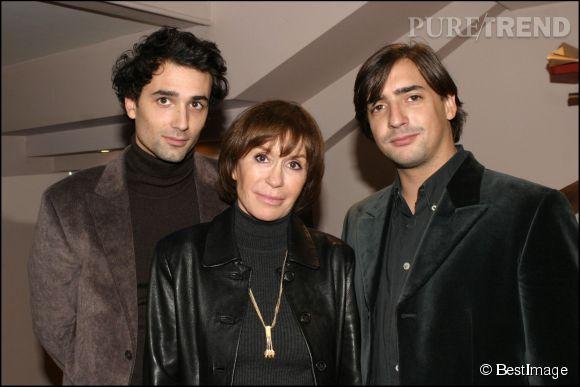 Danièle Evenou et ses fils, Jean-Baptiste et Frédéric Martin issus de son union avec l'animateur Jacques Martin.