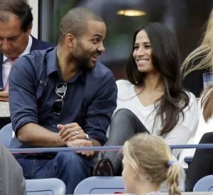 Tony Parker et Axelle Francine, sa femme, le 9 septembre 2014 dans les tribunes de l'US Open. Un coupe de jeunes parents rayonnants.