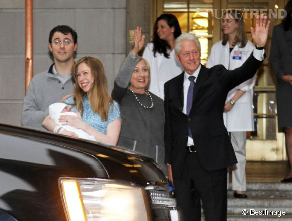 Les Clinton ont présenté la petite Charlotte aux journalistes, le 29 septembre 2014 à New York.