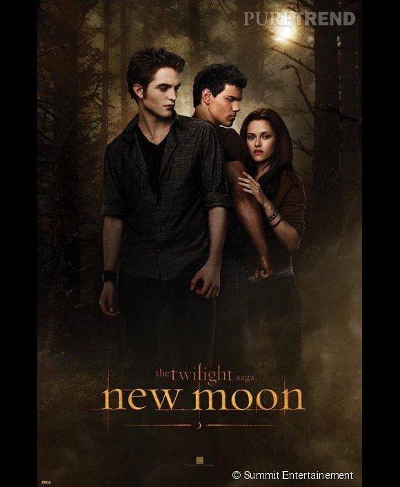 """Robert Pattinson, Taylor Lautner et Kristen Stewart dans le second volet de la saga Twilight, """"New Moon"""". Le trio revient !"""