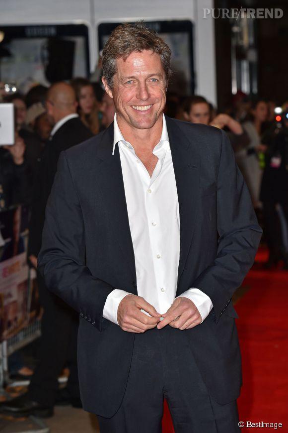 """Hugh Grant lors de la première de """"The Rewrite"""" à Londres le 7 octobre 2014."""