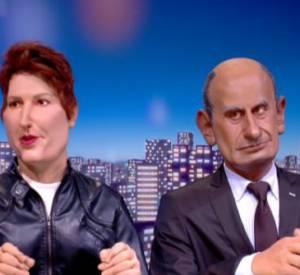 """Natacha Polony affronte Jean-Michel Aphatie dans un sketch des """"Guignols de l'info"""" (à 4'50)."""