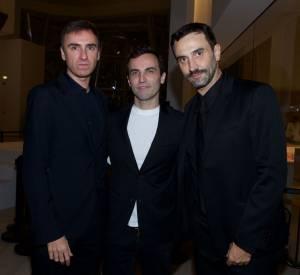 Raf Simons, Nicolas Ghesquière, Riccardo Tisci à l'inauguration de la Fondation Louis Vuitton, ce lundi 20 octobre 2014.