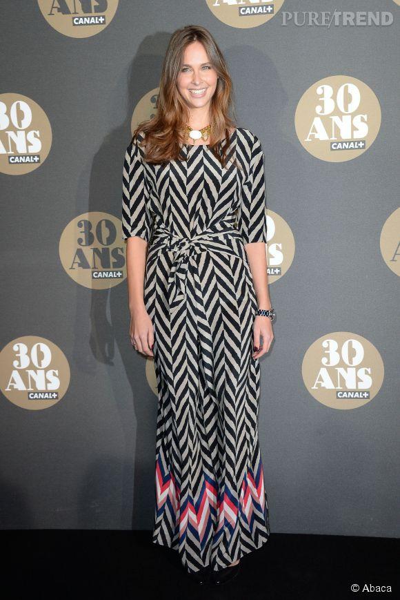 Ophélie Meunier nous fait craquer avec sa robe originale à la soirée des 30 ans de  Canal+  au Palais de Tokyo à Paris le 4 novembre 2014.