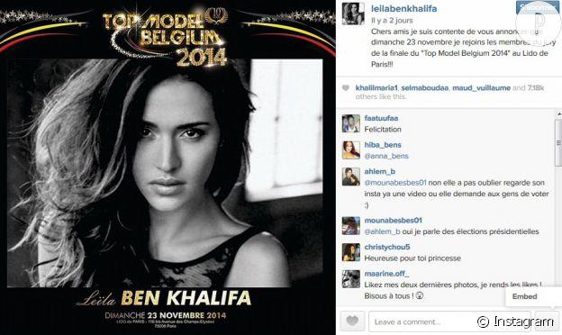 Leila Ben Khalifa, jurée du concours Top Model Belgium 2014 à la place de Nabilla.