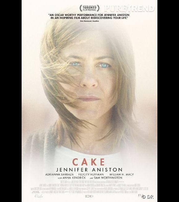 """L'affiche de """"Cake"""" film dans lequel Jennifer Aniston tient le rôle principal."""