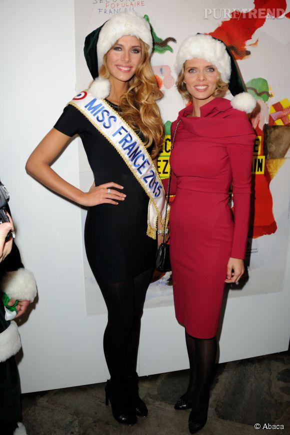 Sylvie Tellier et la nouvelle Miss France, Camille Cerf, à la soirée anniversaire du Secours Populaire à Paris le 8 décembre 2014.
