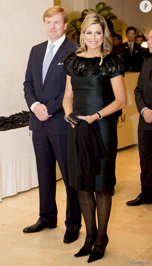 La reine Maxima des Pays-Bas en robe à plumes à Séoul le 3 novembre.