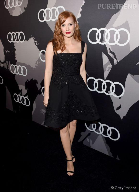 Jessica Chastain en Elie Saab lors de la soirée Audi pré Golden Globes organisée le 8 janvier 2015 à Los Angeles.