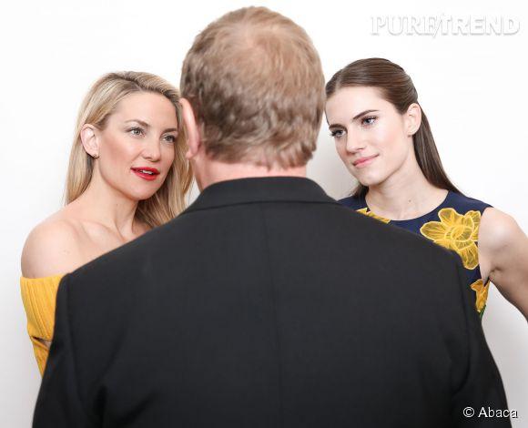 Kate Hudson, Michael Kors et Allison Williams backstage à New York le 18 février 2015.