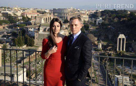 """Monica Bellucci et Daniel Craig assure la promotion de """"Spectre"""" à Rome le 18 février 2015."""