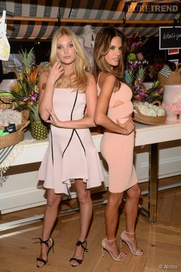 Alessandra Ambrosio et Elsa Hosk, ambassadrices de charme de la maison Victoria's Secret le 25 février 2015.