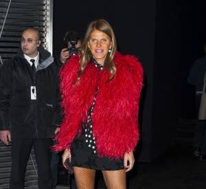 Anna Dello Russo a sorti la fourrure au défilé Saint Laurent.
