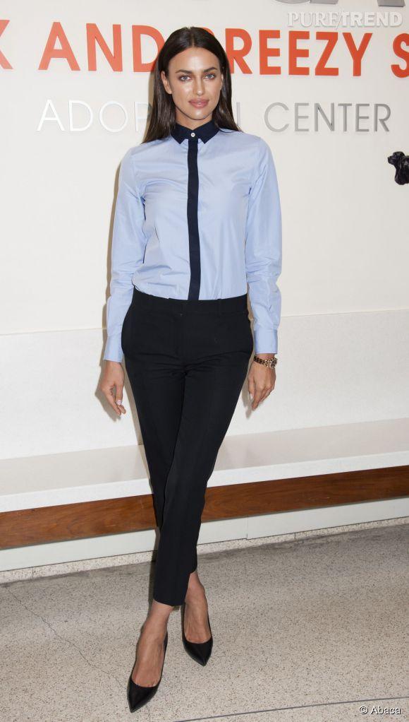 Irina Shayk, tenue sobre façon working girl... pour la bonne cause !