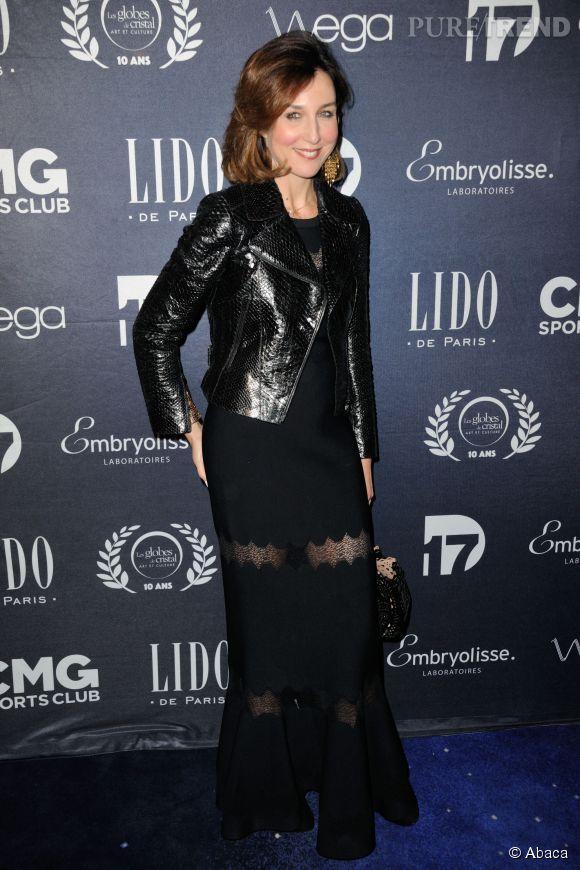 Elsa Zylberstein à la soirée des Globes de Cristal à Paris le 13 avril 2015.
