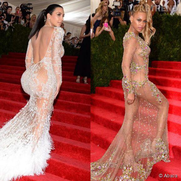Kim Kardashian et Beyoncé, la battle des robes transparentes au MET Gala de New York le 5 mai 2015.
