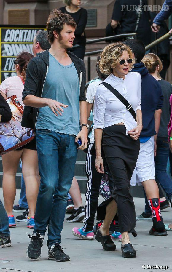 Meg Ryan et son fils Jack à New York le 3 mai 2015.