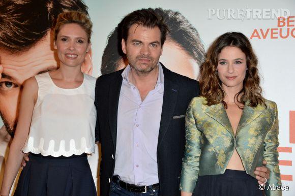 Clovis Cornillac entouré de sa femme Lilou Fogli et sa partenaire à l'écran Mélanie Bernier.