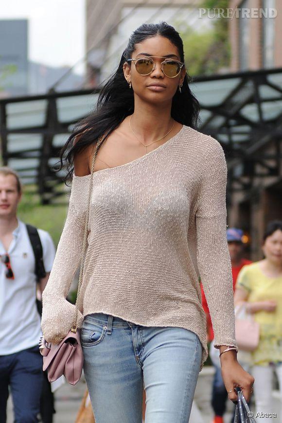 La petite touche frime de Chanel Iman ? Ses lunettes de soleil.