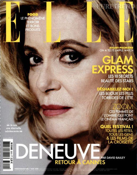 Catherine Deneuve en couverture du magazine ELLE de la semaine du 7 mai 2015.