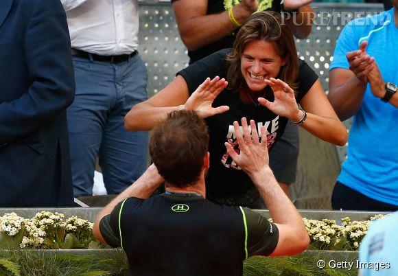 Amélie Mauresmo a savouré la victoire de son poulain Andy Murray au Mutua Madrid Open, le 10 mai 2015.