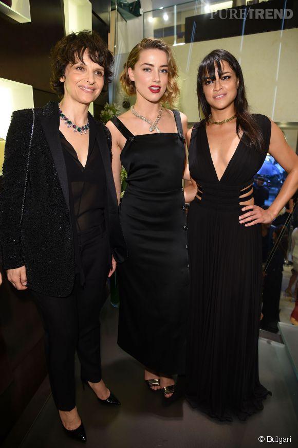 Juliette Binoche, Amber Heard et Michelle Rodriguez à la soirée Bulgari organisée le 7 juillet 2015 à Paris.