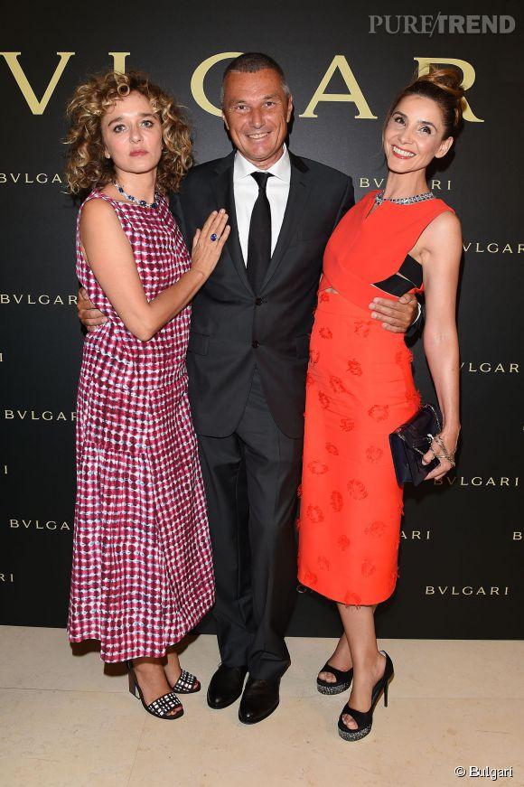 L'actrice italienne Valeria Golino, Jean-Christophe Babin le PDG de Bulgari et Clotilde Courau à la soirée Bulgari le 7 juillet 2015 à Paris.